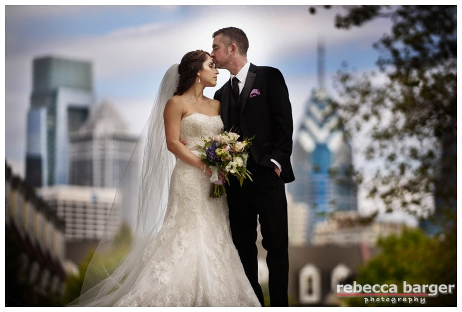 Julie and Mike married on the lawn at Naval Square, Philadelphia, flowers by Fabufloras.