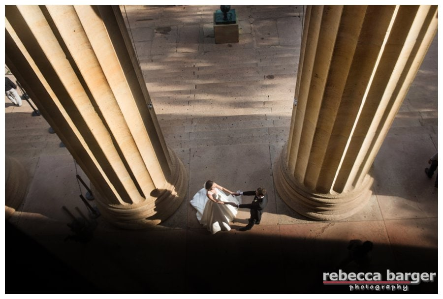 Holly + Ben at The Philadelphia Museum of Art on their wedding day, Rebecca Barger Photography.