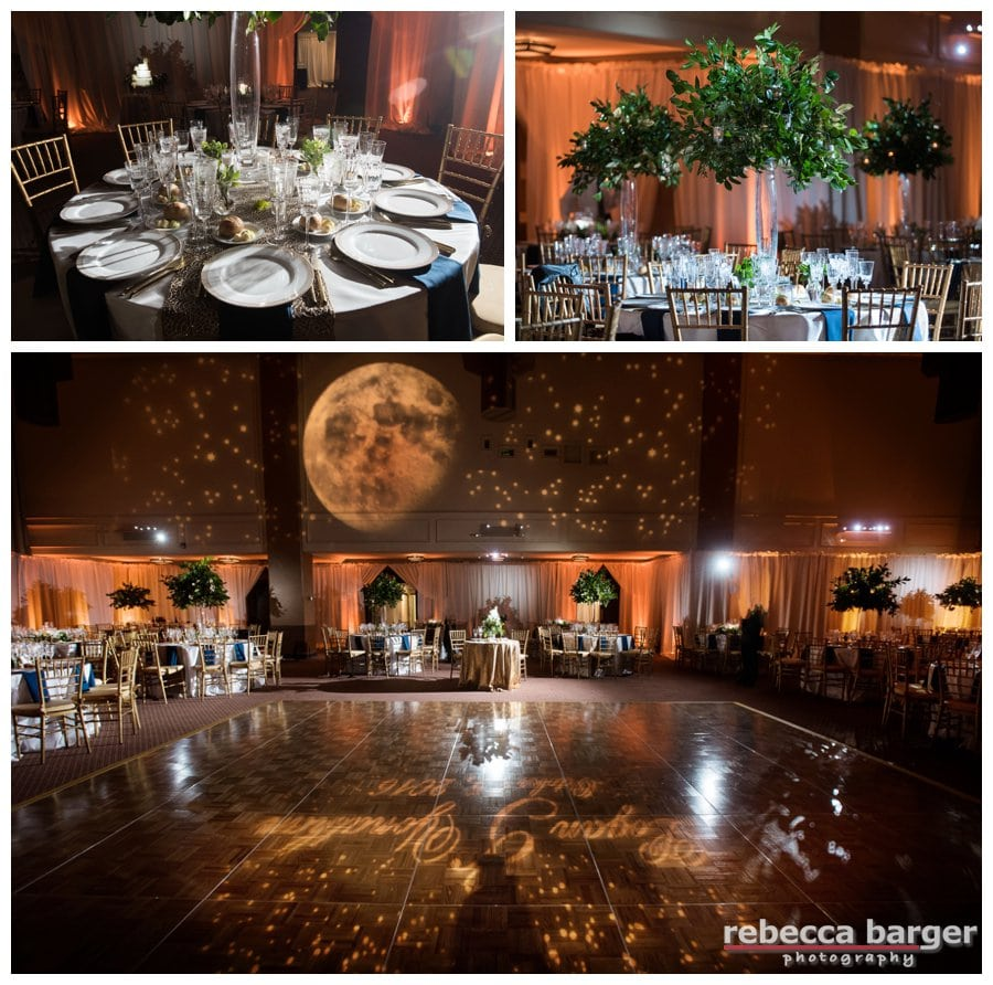 Entertainment and celestial lighting by EBE Entertainment, Feast Your Eyes, decor by Amaranth Floral, Narbeth.