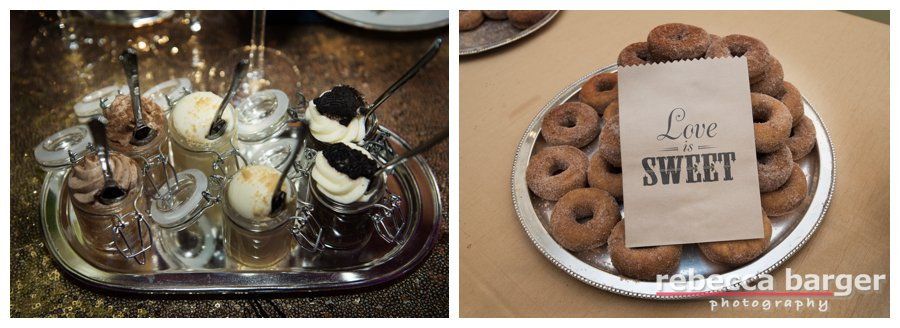 Butlered desserts by Feast Your Eyes served on the dance floor and good night donuts to go!