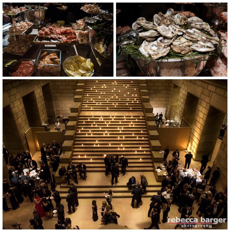 Cocktails served in the Museum's Great Stair Hall, including a raw bar, Stephen Starr Events.