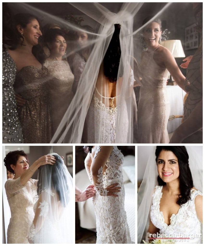 Finishing touches with Adriana's 'maids and her mom. Guipure lace gown by Orabella from Nicole Bridal.