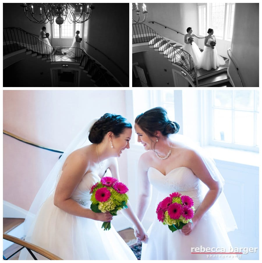 First Look for the couple on the staircase at Brantwyn Estate.