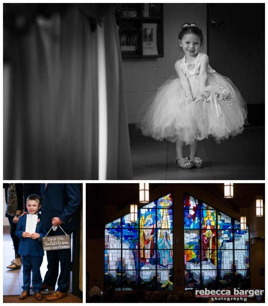 The flower girl and ring bearer get ready at St. Joan of Arc Parish.
