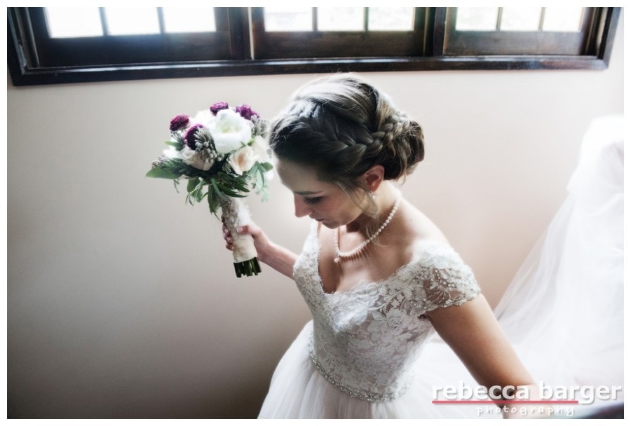Intricate bridal hair by Daneen Gensen at Hotel du Village.