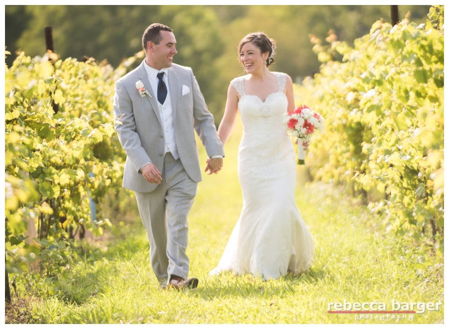 Justine and Cody celebrated the end of summer in the vineyards of Laurita Winery.  Their wedding ceremony was so pretty, too!