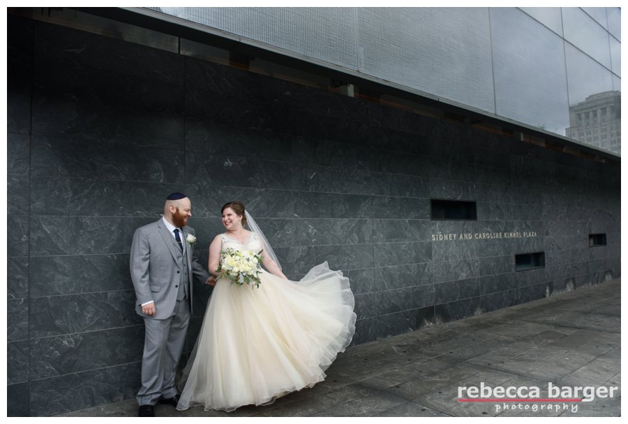 Katie + Jordan married at the National Museum of American Jewish History with wedding perfect weather at the beginning of September, Rebecca Barger Photography.