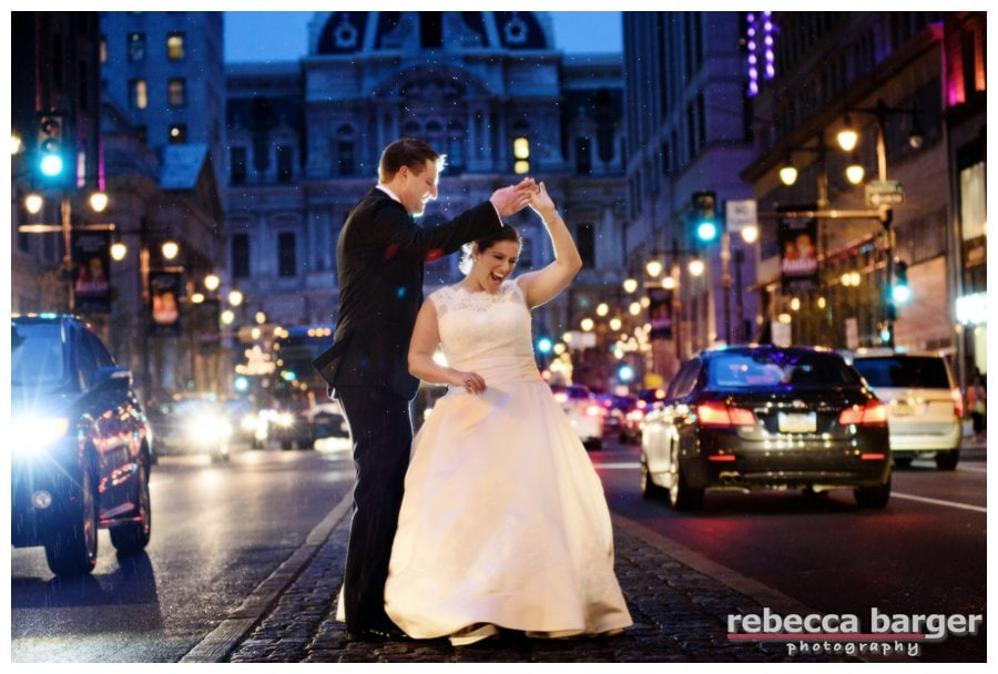A little rain would never stop Kiera and Mark from celebrating their marriage with a quick dance in the middle of Broad St., Phila. Darby from Seeds of Celebration helped the day run so smooth!