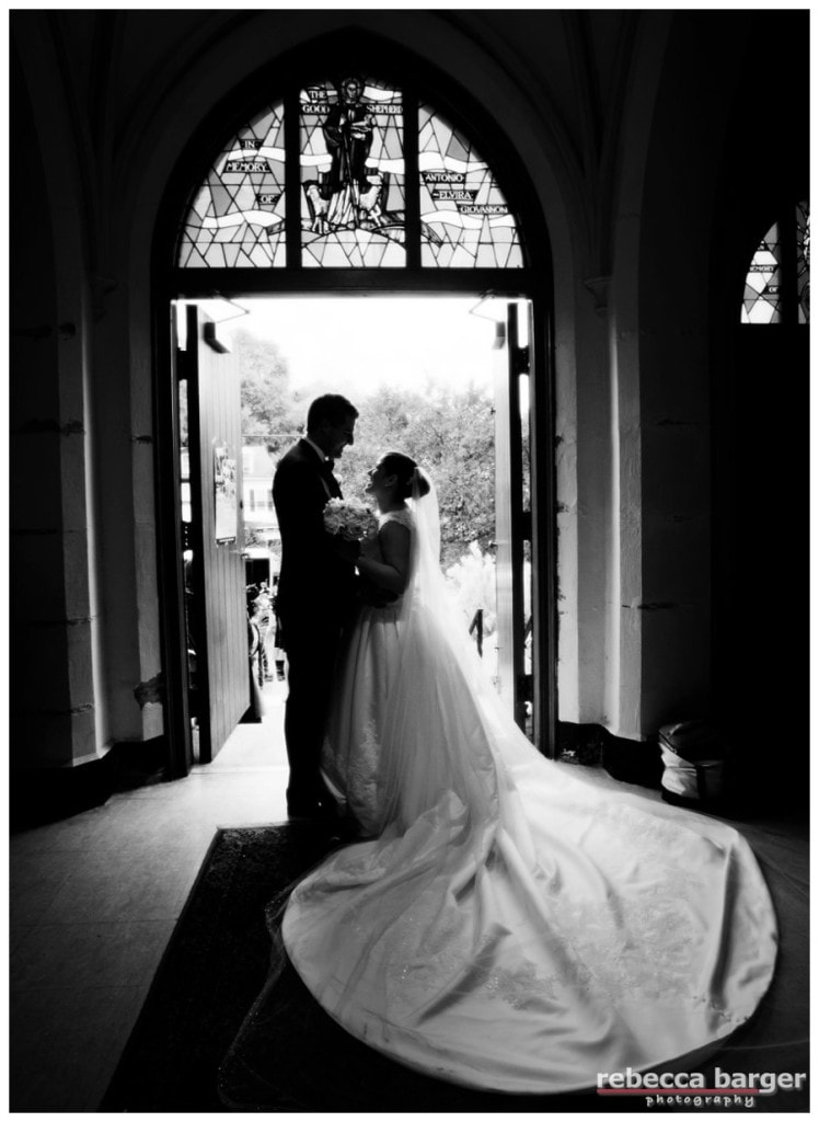 Just married. Gown by Pronovias, from Van Cleve Bridal in Paoli.