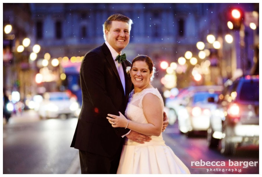 A little rain would never stop Kiera and Mark from celebrating their marriage with a quick stop at Broad St., Phila.
