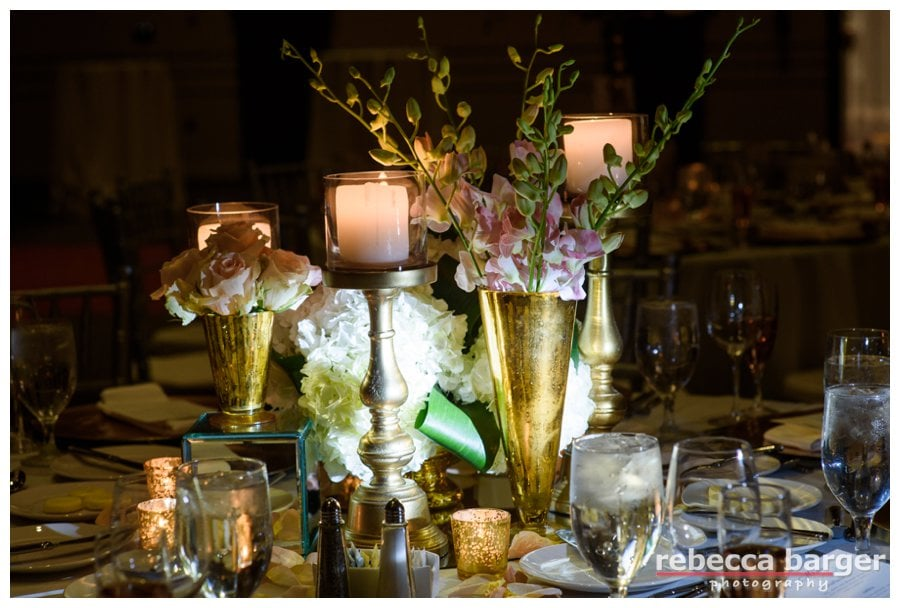 Romantic touches in the Regency Ballroom by Carl Alan Floral Design.