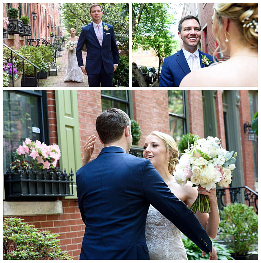 First look for the soon-to-be married couple on a flowery street in Fairmount, Philadelphia.