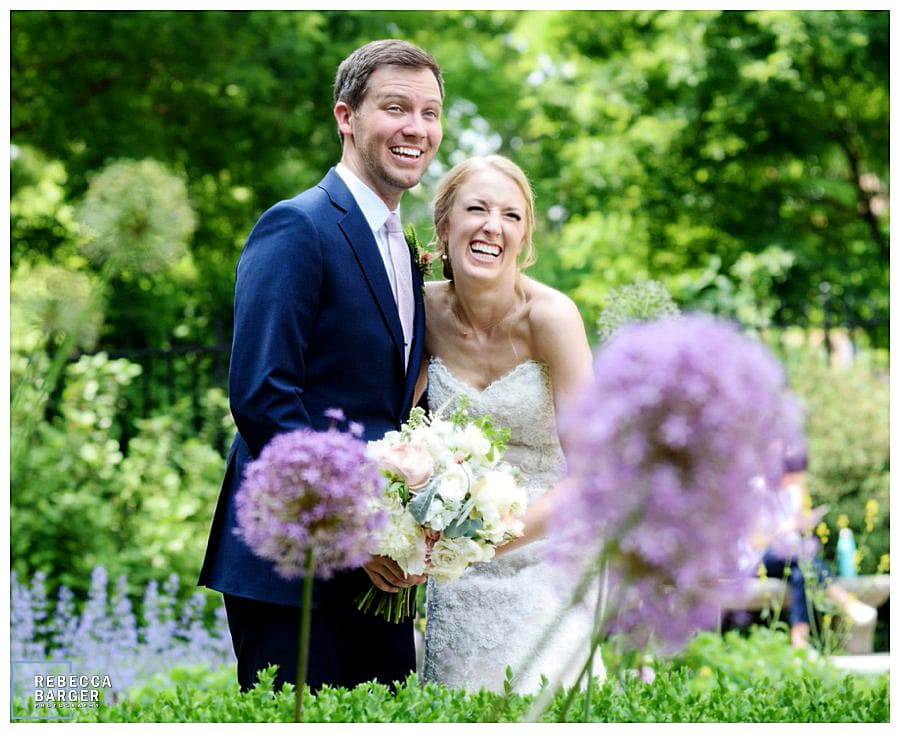 Wedding day giggles amongst the spring time blooms at The Rodin.