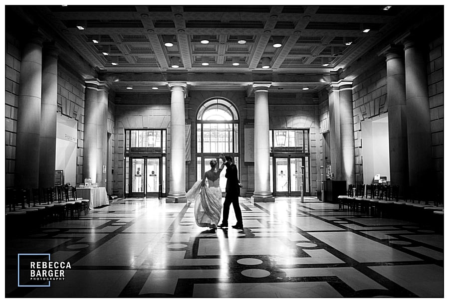 The Free Library is such a fabulous wedding venue, stunning architecture and great photo options, Brulee Catering, Philadelphia, Rebecca Barger Photography.