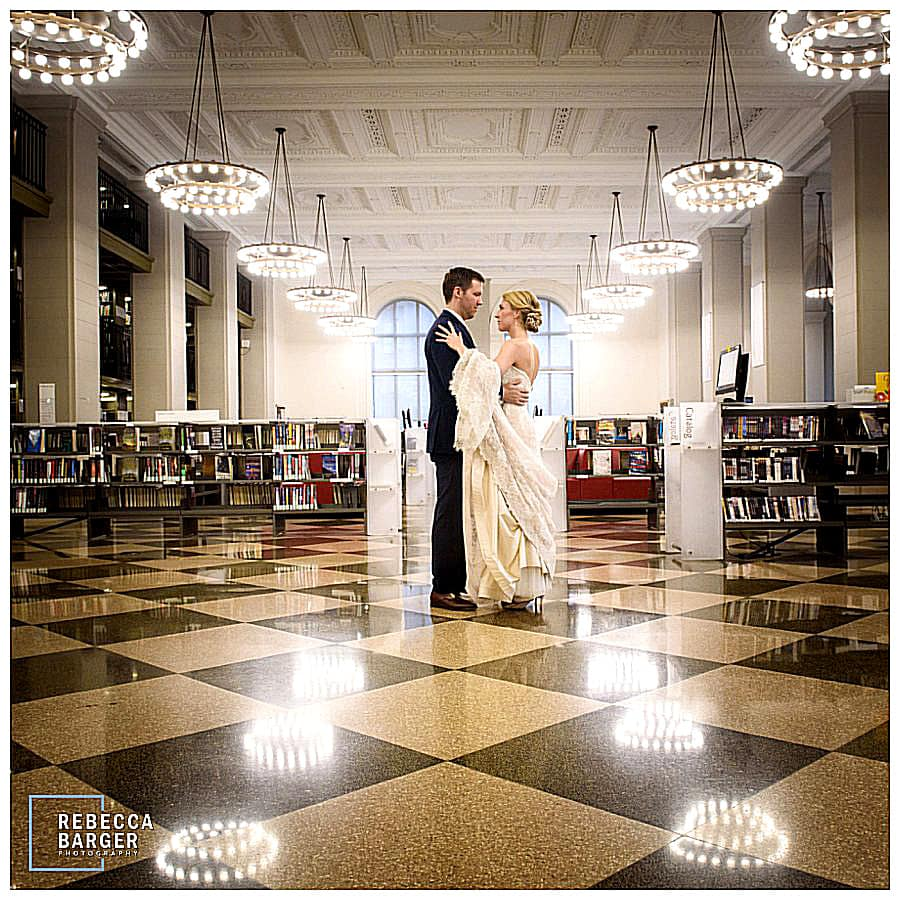 Love this simple image of the newlyweds in the library. The train looks so beautiful, casually over Lauren's arm, Nicole Bridal gown.