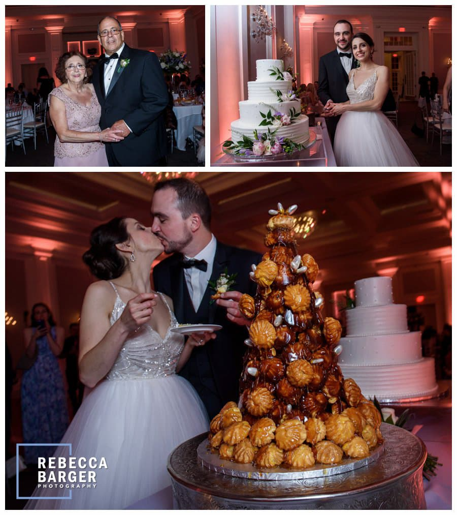 A kiss by the croquembouches, French wedding cake by Aux Petits Delices.
