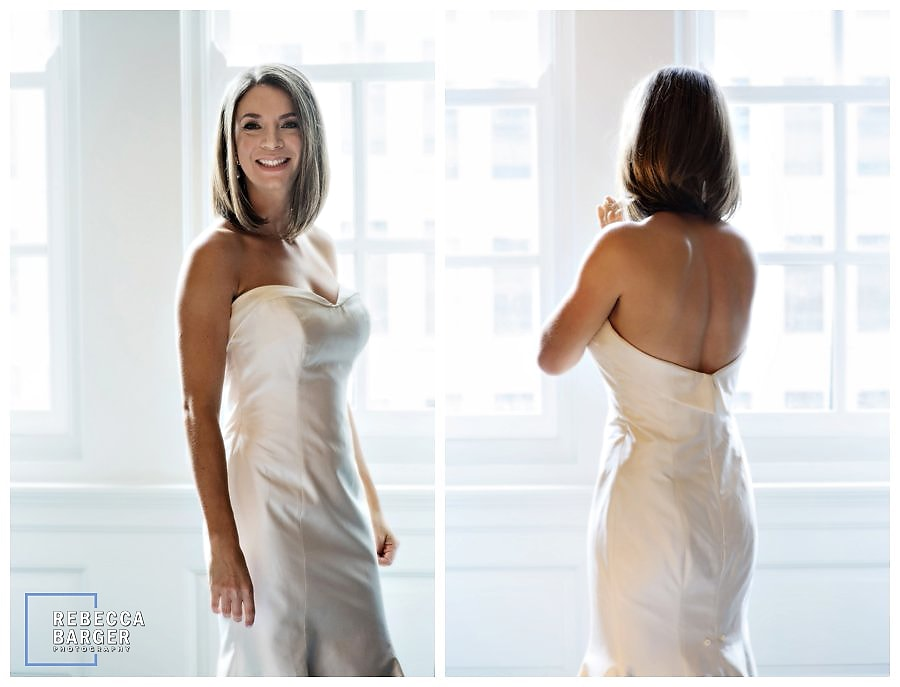 Emily at Le Meridien, prior to meeting her groom for their wedding at PA Academy of The Arts.